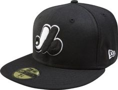 MLB Montreal Expos Cooperstown Black with White 59FIFTY Fitted Cap by New Era. $28.95. Made of 100 percent Wool. 59FIFTY fitted cap in fashion color. Embroidered Cooperstown Team logo in raised embroidery at front. Officially licensed by Major League Baseball. 59FIFTY is the official on-field cap of Major League Baseball and is worn by every Major League Baseball player. With this fashion version of the 59FIFTY you can show your team pride with style.
