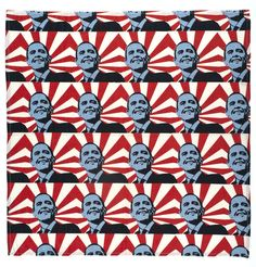 Printed cotton handkerchief featuring a repeating image of Barack Obama. Each image is composed of an outline of Obama, tinted light blue, with radiating r. Obama Campaign, Today In History, Political Memes, Museum Collection, Historical Society, Barack Obama, Art Google, Printed Cotton, Happy Birthday
