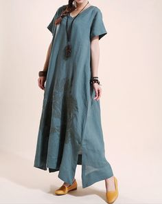Summer maxi dress Loose linen Short sleeve long dress by MaLieb, $99.00