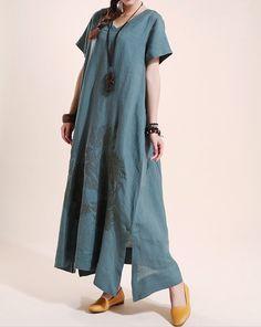 Summer maxi dress Loose linen Short sleeve long dress door MaLieb, $99.00