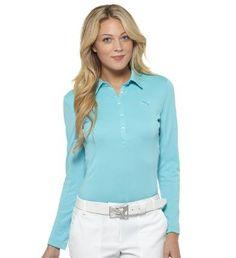 Puma Women's Long Sleeve Golf Polo | #golf4Her #puma #blue
