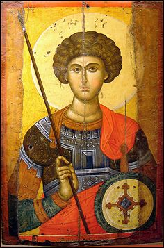 Icon of Saint George, from a 14th century Constantinople workshop. Exhibited in the Byzantine and Christian Museum in Athens.