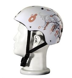Punisher Cherry Blossom 11-Vent Skateboard Helmet by Bike USA. Save 17 Off!. $25.01. 9201 Features: -Helmet.-ABS shell.-Black EPS foam liner.-Adjustable chin strap to secure fit.-Use the extra pad set to inside the helmet to reduce the fit size to small.-For use with skating, skateboarding, BMX, bikes, or hockey.-Always ride with a safety helmet.-For ages 10 years old and up. Includes: -2 Pieces helmet pads included. Color/Finish: -Full color waterslide graphic. Warranty: -1 Year Warranty.