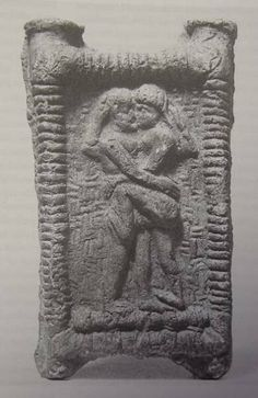 """Sacred Marriage"" between Dumuzi and Inanna on a bed. Old Babylonian Period."