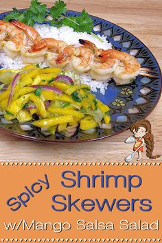 Looking for something a little different for dinner? Spicy Shrimp Skewers by Foodie Home Chef fits the bill. Throw 'em on the grill or broil in the oven, no matter how you prepare them, they're seriously delicious! Included is a recipe for Mango Salsa Salad that pairs up perfectly with this fabulous dish! Shrimp Skewers | Shrimp Recipes | Grilled Shrimp | Broiled Shrimp | Seafood Recipes | Sheet Pan Recipes | Mango Salsa | Salsa Recipes | Mexican Recipes | #foodiehomechef @foodiehomechef Crawfish Recipes, Lobster Recipes, Shrimp Recipes, Appetizer Recipes, Broiled Shrimp, Spicy Shrimp, Chef Recipes, Mexican Recipes, Healthy Recipes