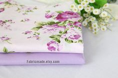 Off White Cotton Fabric With Purple Rose Flower by fabricmade