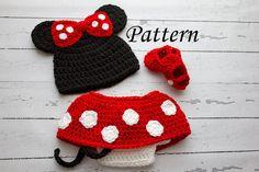 Crochet PATTERN - Newborn to 12 months Minnie Mouse set Photo Prop Set -Instant Download PDF- Photography Prop Pattern @Carmen Yee Yee Yee Merino