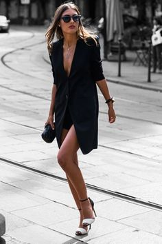 Black dress, white sandals