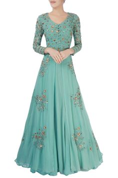 Shop Astha Narang Green thread work lehenga , Exclusive Indian Designer Latest Collections Available at Aza Fashions Indian Gowns Dresses, Pakistani Dresses, Indian Wedding Outfits, Indian Outfits, Indian Designer Outfits, Designer Dresses, Stylish Dresses, Fashion Dresses, Lehenga Designs