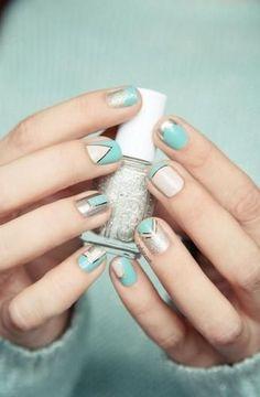 turquoise + nude geometric nails // zazumi.com