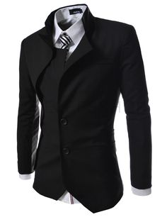 (NJK-BLACK) Mens unbalance 2 button china collar jacket BLACK