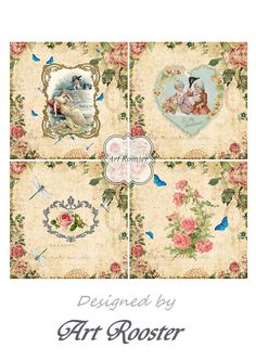 Vintage Valentines Coasters 3.8 x 3.8 inch Image by ArtRooster
