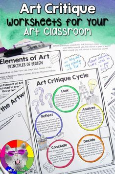 This Art Critique Unit provides reflective questions in response to classroom discussions when viewing historical or contemporary artworks. This includes an About Art Critiques page, Questions and Wonders, Artist Web Search, Art Critique Rubric, Art Criti Collaborative Art Projects, School Art Projects, Projects For Kids, Art Activities For Kids, Art For Kids, Elementary Art, Elementary Teacher, Upper Elementary, Back To School Art