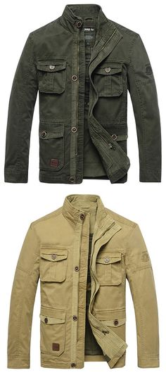 Military Style Casual Outdoor Solid Color Multi-Pockets Slim Fit Stand Collar Jacket For Men