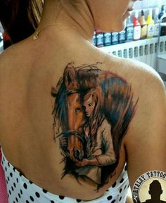 horse and girl tattoo on back - 40 Awesome Horse Tattoos Tattoos Motive, Bild Tattoos, Tatoos, Mädchen Tattoo, Back Tattoo, Tattoo Girls, Photomontage, Animal Tattoos, Horse Tattoos