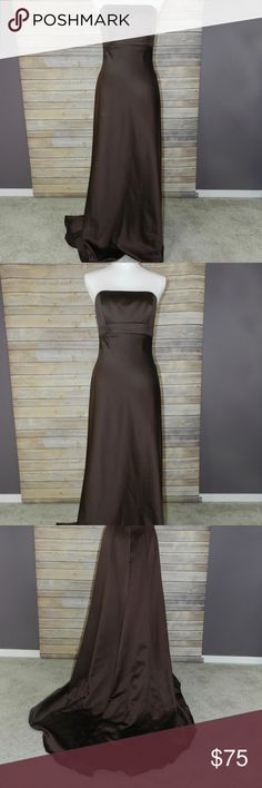 """Alfred Angelo formal dress Sleeveless, backless, floorlength, zip-up, polyester, formal dress. I wore once to my sister's wedding. Like new condition. Length in front is 49"""", back is 57"""", bust is 36"""", waist is 29"""", Hips are 37"""" and it's about 5"""" from bottom of neck to top of dress. Alfred Angelo Dresses Strapless"""