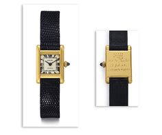 """The front and back of the Jacqueline Kennedy Onassis Cartier gold Tank watch. The timepiece is engraved """"Stas to Jackie - 23 Feb. 63 - 2:05 am to 9:35 pm."""""""
