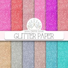 "Glitter Digital Paper : "" Glitter Paper "" with glitter background, glitter texture in gold, silver, pink, purple, red, turquoise #glitter #colorful #pink #planner #romantic #wedding"