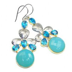 Exceptional Blue River Chalcedony Agate Two Tones Sterling Silver earrings