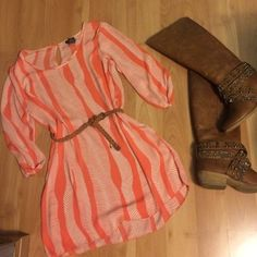 Coral tunic Never worn! Great with leggings! Could be used as a dress depending on your height! Belt is included! Rue 21 Tops Blouses