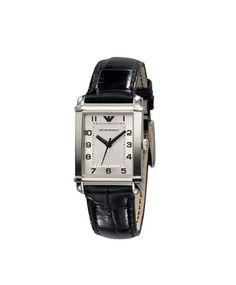 Emporio Armani  Silver Rectangle Dial Leather Strap Watch-For Women #ohnineone #watch #timepiece #emporioarmani
