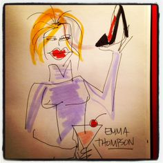 #EmmaThompson gets tipsy #goldenglobes #illustration Martini's + shoes.