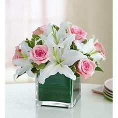 This lovely Modern Embrace - Pink Rose and Lily Cube bouquet includes an arrangement of beautiful pink roses and white lilies. Birthday Flower Delivery, Same Day Flower Delivery, Easter Flowers, Mothers Day Flowers, 800 Flowers, Fresh Flowers, Send Flowers, White Flower Arrangements, Pastel Roses