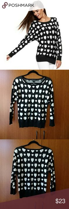 INC Black n White Heart Sweater. Adorable INC International Concepts Black n White Heart Sweater. INC International Concepts Tops