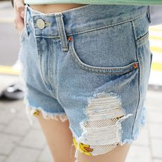 Qnigirls New Womens Swimming Ducklings Destroyed Denim Shorts Cute Lovely Style #Qnigirls #Denim
