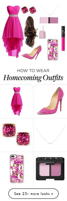 """""""Head to toe Pink"""" by thymificent on Polyvore featuring Essie, NARS Cosmetics, Accessorize, Kate Spade, Christian Louboutin and Casetify"""