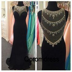 Ball gowns wedding dress, elegant black chiffon long prom dress for teens #coniefox #2016prom