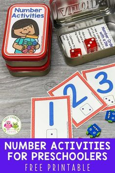 Add these free printable 1-12 number cards, counters, & dice to an Altoids tin or soap container to create fun math activities for your classroom. Perfect for preschool or pre-k, or at home learning. You can use the printables with your kids for a variety of math learning & counting activities. Ideas for learning games and activities are included. Use for your math centers and stations, as a take-home activity, as a screen-free activity at restaurants, or as a student gift. Number Games Preschool, Fun Math Activities, Preschool Activities, Preschool Projects, Kids Learning, Learning Games, Early Learning, Free Printable Numbers, Math Work