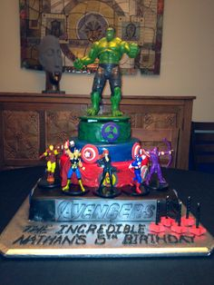 Avengers Birthday Cake by Sweet For Sirten All edible except action