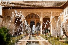 Patio de la Acequia in El Generalife, la Alhambra. Fabulous example of islamic architecture in Europe. Stock Photo