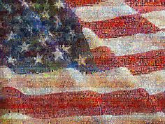 United State of Art - an image of the US Flag I created blending superimposed images of flags (including actual photographs, paintings by great artists, and pop icons all blended together to make the source flag). Then this mosaic, or photomosaic, was created using 3000 Digital artworks from my Flickr friends and members of the Visual Mashups group. Most of the tile images are beautiful blends, mosaics, photomosaics, collages, and even quilts themselves!
