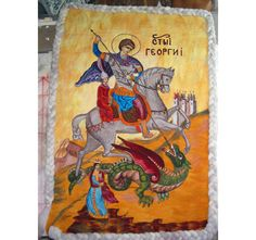 Icon felt tapestry of st. Georgeneedle felting by RumiWay on Etsy, $540.00