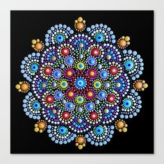 This image is a photography of a original painted stone by Mandalaole. Dot art painted stone with acrylic paint, dot by dot.