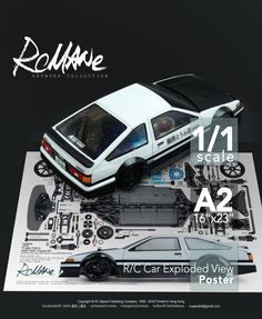 About the Model : TT-02DS with ABC AE86 body SA117 #Tamiya #TT02D #TYPE_S Chassis #DriftSpec Chassis Kit Item47301, Four-wheel Shaft Driven, with Japan ABC Hobby #Toyota #Trueno #AE86 200mm Body, 4WD 1/10 EP On-Road, Wheel base: 257mm, Gear Ratio =8.27:1(Options Gear 11.38:1~7.28:1), Motor: 540type, Weight: 1350g, Bodyworks by:RCMANe CY Ning(HK) Satisfying Photos, Type E, Initial D, Rc Hobbies, Ae86, Car Posters, Japanese Cars, Model Car, Jdm Cars