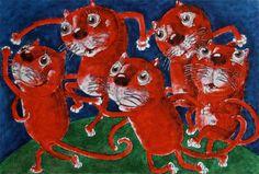 Танец красных котов - Картина,  70x50 cm ©2016 - DMITRIY TRUBIN -                                                                                                Изобразительное искусство, Иллюстрация, Бумага, Животные, Здоровье и Красота, Кошки, кот, коты, фото котов, фото кошек, про котов, про кошек, трубин коты, коты трубин, картина с котами, красный цвет, картина в красном цвете, купить картину с котом, купить картину для интерьера, танец матисс, матисс танец, матисс парафраз, красный…
