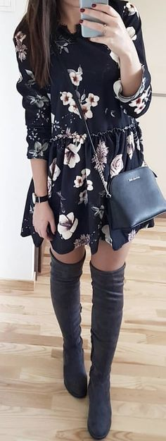 #winter #outfits black and white floral shirt mini dress