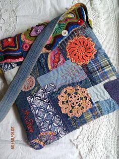 """Купить Сумка-торба """"Время бабочек"""" - комбинированный, джинсовый стиль, сумка…"""