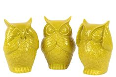 Description:  Eye catchy and known for wisdom they will certainly give your interiors a dose of refreshment. Constructed of quality ceramic they will remain in topnotch condition for years together. In an amber hue this set of three owls has a glossy finish. Depicting see no evil speak no evil and hear no evil this set will enhance the look of empty tabletops shelves and desks. The detailing done on the owls speaks about its excellent handicraft. Displaying it in any corner of your house…