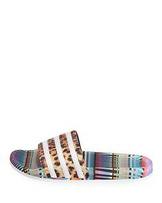 64e9db7157c2e Adidas Adilette Bright Leopard-Print Pool Slide Sandals