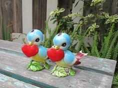 Vintage Bluebird Salt and Pepper Shakers with by UnderTheSycamores