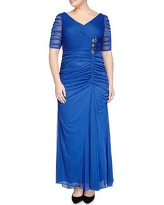 Short-Sleeve+Ruched+Gown+w/+Floral+Rhinestones,+French+Blue+by+Adrianna+Papell+at+Neiman+Marcus+Last+Call.