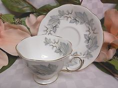 Royal Albert Bone China Dinnerware Silver Maple Gray Leaves Cup and saucer
