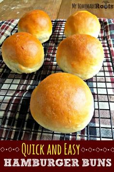 These homemade hamburger buns are quick, easy, and so tasty. And you can have them on the table in under an hour! Homemade Burger Buns, Homemade Hamburgers, Homemade Breads, Homemade Rolls, Bread Bun, Bread Rolls, Sandwiches, Bread Recipes, Quick Recipes