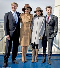 dailymail: Dutch State Visit to Denmark, Day 2, March 18, 2015-King Willem-Alexander, Queen Maxima, Crown Princess Mary and Crown Prince Frederik on the ferry to Samsø island