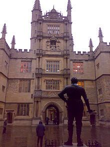 The Tower of the Five Orders, as viewed from the entrance to the Divinity School