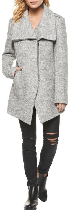 Gray coat Nice angles with double zipper #ad